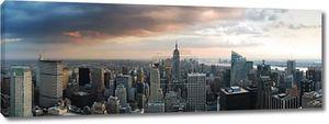 панорама горизонта Нью-Йорка. Манхэттен Аэрофотоснимок