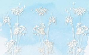 Ярко-синий фон, белый бамбук и стрекозы