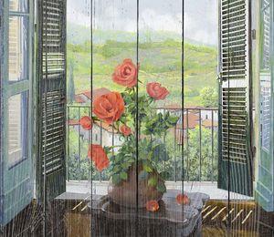 Розы в вазе на окне