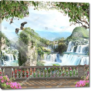 Вид на орла и водопады с террасы