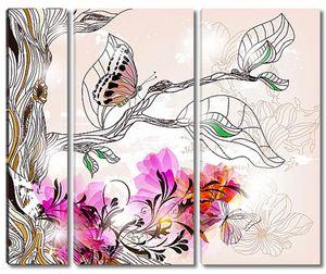 Рисунок бабочки и цветы