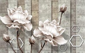 Цветы с абстрактными сотами