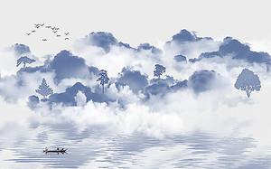 Облака низко над озером