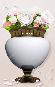 Ваза с розами, жемчугом и орнаментом