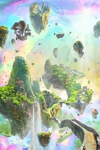 Сказочные острова на ярком небе