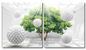 Дерево и шары ежи