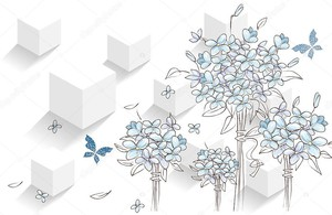 Рисованные букеты и бабочки
