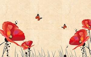Бежевая плитка, большие красные маки, бабочки