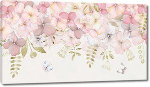 Нежные цветы с бабочками