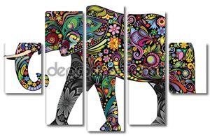 Веселый слон цветочный орнамент