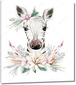 Зебра с венком из цветов