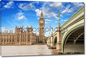 Пейзаж Биг Бен и Вестминстерский дворец с мостом и T
