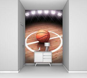 3D визуализация баскетбола на корт с освещением стадион