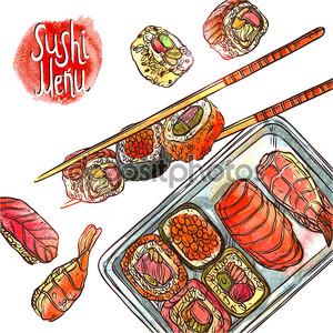Рука нарисованные суши-меню