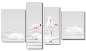 Белые фламинго в облаках