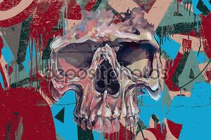 череп граффити в огне
