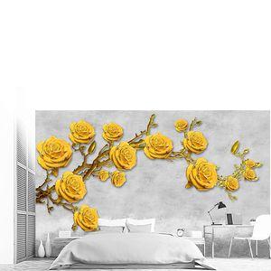 Ярко-желтые розы на ветке