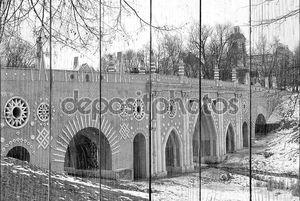 Черно-белый вид на мост