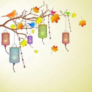 Осенние мотивы с китайскими фонариками