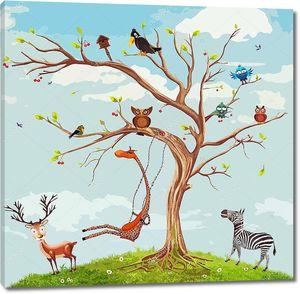 Векторные иллюстрации животных на дереве