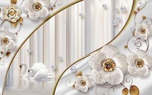 Декоративные цветы, лебеди на воде