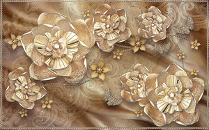 Абстрактные цветы на шелковой ткани