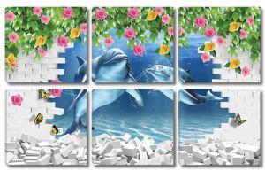 Белый кирпич, два дельфина в море