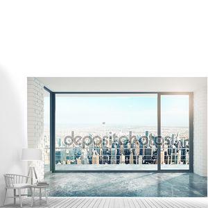 Пустой чердак комната с большим окном