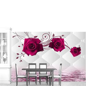 Белый фон с ромбами,  розы, отражение в воде.