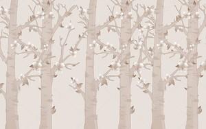 Бежевый однотонном фоне, деревья, цветы и листья