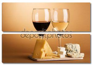 Вино и сыр Натюрморт