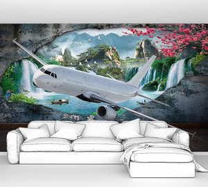 Самолет из стены с прекрасным пейзажем