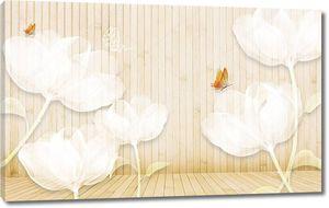 Полосатый фон с белыми большими цветами
