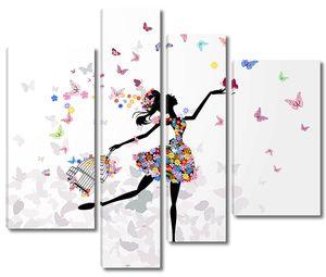 Девочка и бабочки