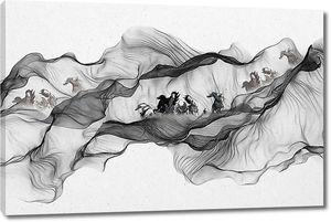 Лошади в абстрактных волнах