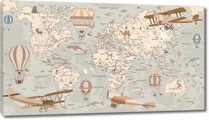 Аэропланы и воздушные шары на карте мира