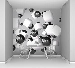 Абстрактный серый фон изготовлен из белого кубов и черный сферах