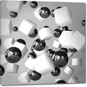 Абстракция из белых кубов и черных сферах