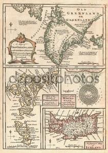 1747 Северной Атлантики острова карта