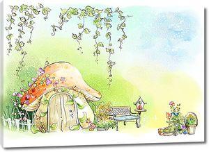 Скамеечка у домика-грибка