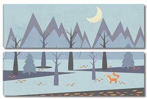 Лисичка в стилизованном лесу