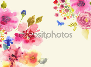Акварель карта с красивыми цветами