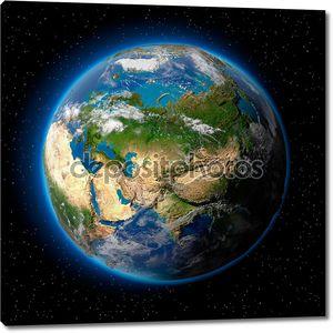 Земля в ореоле в космосе