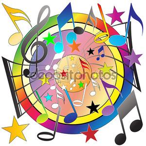 Разноцветные музыкальные ноты