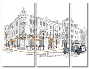 Серия уличных кафе в Старом городе с ретро-автомобилей