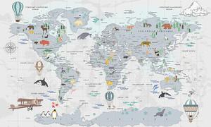 Карта континентов с животными