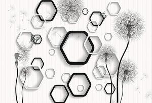 Черно-белые соты с одуванчиками