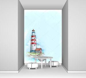 Акварель маяк на обрыве