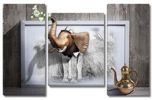 Ожившая картина слона