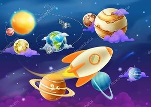 Солнечная система с планетами и ракетой